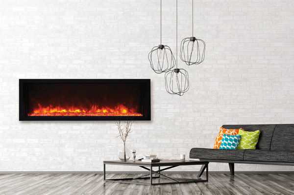 BI-50-XTRASLIM – 50″ Extra Slim Indoor or Outdoor Built-In only Electric Fireplace with black steel surround